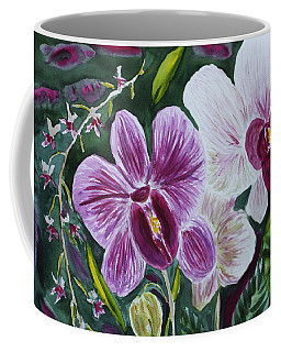 Coffee Mug featuring the painting Orchid At Aos 2010 by Donna Walsh