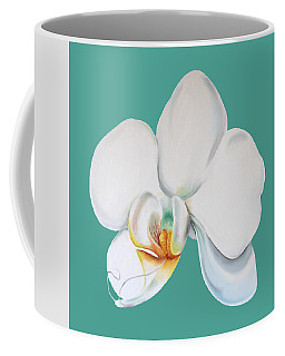 Coffee Mug featuring the mixed media Orchid On Green by Elizabeth Lock