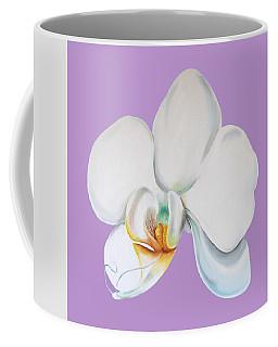 Coffee Mug featuring the digital art Orchid On Lilac by Elizabeth Lock