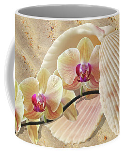 Orchids And Shells On The Beach Coffee Mug by Gill Billington