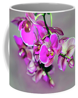 Orchids On Gray Coffee Mug by Ann Bridges