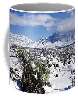 Coffee Mug featuring the photograph Winter's Blanket Organ Mountains by Kurt Van Wagner