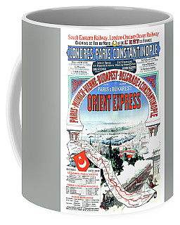Orient Express Railway Route, Travel Poster Coffee Mug