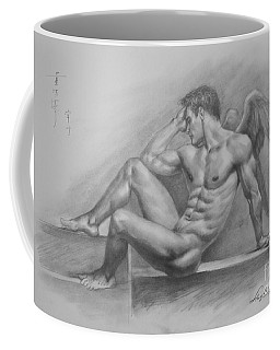 Original Charcoal Drawing Art Angel Of Male Nude On Paper #16-3-11-18 Coffee Mug