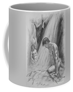 Original Charcoal Drawing Art Male Nude By Twaterfall On Paper #16-3-11-16 Coffee Mug