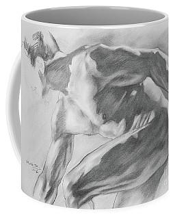 Original Charcoal Drawing Art Male Nude  On Paper #16-3-10-11 Coffee Mug