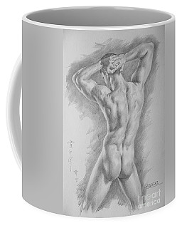 Original Charcoal Drawing Art Male Nude  On Paper #16-3-11-25 Coffee Mug
