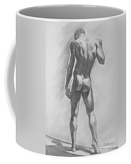 Original Charcoal Drawing Male Nude Mam On Paper #16-1-15-02 Coffee Mug