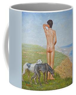 Original Classic Oil Painting Man Body Art- Male Nude And Dogs#16-2-1-06 Coffee Mug