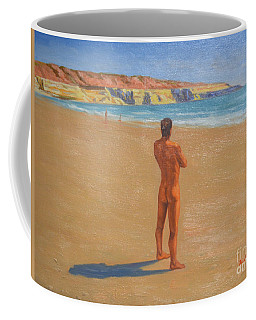 Original Classic Oil Painting Man Body Art Male Nude By The Sea-0017 Coffee Mug