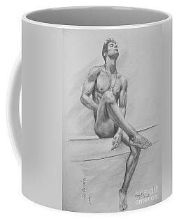 Original Drawing Charcoal Male Nude Boy Man On Paper #16-3-29-01 Coffee Mug