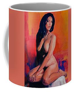 Original Female Nude Goddess Eirene I Sitting Orange Red Background Coffee Mug