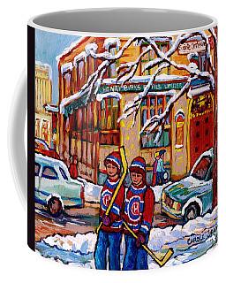 Original Montreal Art For Sale Birks Jewellery Downtown  Montreal Winterscene Painting C Spandau Art Coffee Mug