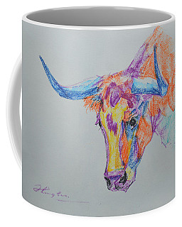 Original Oil Pastel Abstract Animal Art Cow On Paper #16-1-26-12 Coffee Mug by Hongtao Huang