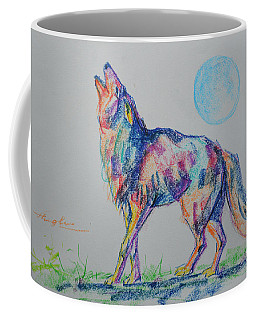 Original Oil Pastel  Animal Art  Wolf On Paper #16-1-26-11 Coffee Mug by Hongtao Huang