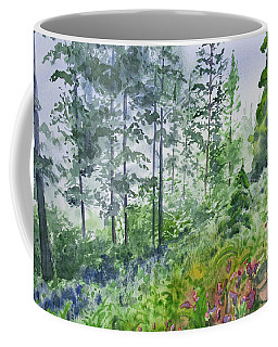Coffee Mug featuring the painting Original Watercolor - Summer Pine Forest by Cascade Colors