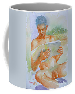 Original Watercolour Painting Art Male Nude  Men Reading Book On Paper #16-3-4-06 Coffee Mug by Hongtao Huang