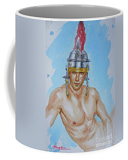 Original Watercolour  Painting  Male Nude On Paper#16-11-18-01 Coffee Mug by Hongtao Huang