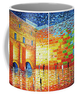 Coffee Mug featuring the painting Original Western Wall Jerusalem Wailing Wall Acrylic 2 Panels by Georgeta Blanaru