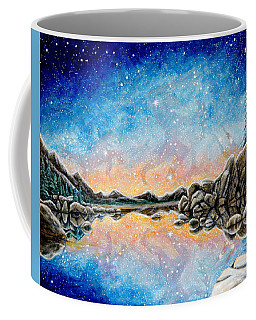 Coffee Mug featuring the painting Orion Over Tahoe Winter by Matt Konar