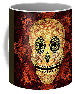 Ornate Floral Sugar Skull Coffee Mug by Tammy Wetzel