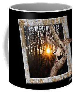 Osprey At Sunset  Black Coffee Mug