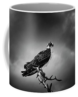 Coffee Mug featuring the photograph Osprey In Black And White by Chrystal Mimbs