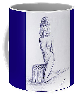 Coffee Mug featuring the drawing Ottoman II by Elly Potamianos