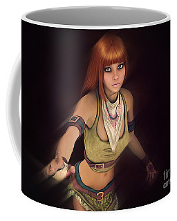 Coffee Mug featuring the digital art Out Of The Dark by Jutta Maria Pusl