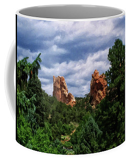 Coffee Mug featuring the digital art outcroppings in Colorado Springs by Chris Flees