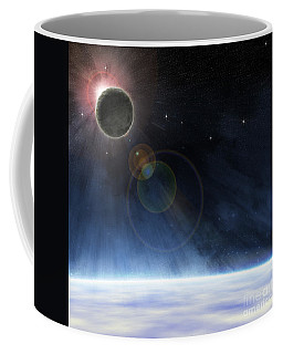 Coffee Mug featuring the digital art Outer Atmosphere Of Planet Earth by Phil Perkins