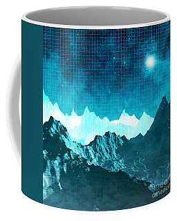 Coffee Mug featuring the digital art Outer Space Mountains by Phil Perkins