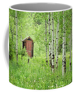 Outhouse With Red Door Coffee Mug