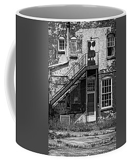 Coffee Mug featuring the photograph Over Under The Stairs - Bw by Christopher Holmes
