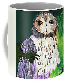 Coffee Mug featuring the painting Owl Behind A Tree by Donald J Ryker III