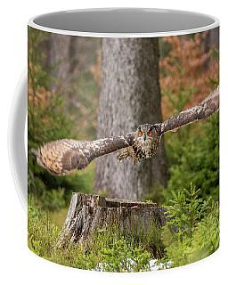 Eagle Owl In Flight. Coffee Mug