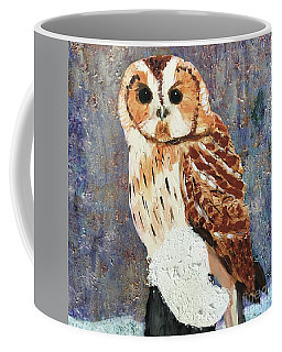 Coffee Mug featuring the painting Owl On Snow by Donald J Ryker III