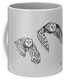 Owls In Flight Coffee Mug by Victoria Lakes