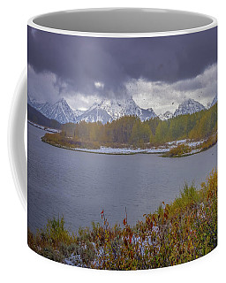 Coffee Mug featuring the photograph Oxbow Bend Fall Snowfall by Scott McGuire