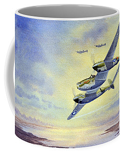 Coffee Mug featuring the painting P-38 Lightning Aircraft by Bill Holkham