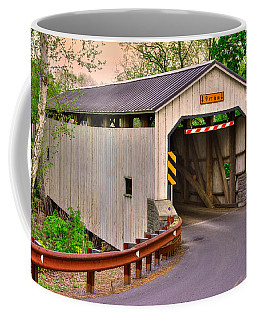 Pa Country Roads - Kellers Mill Covered Bridge Over Cocalico Creek No. 3 - Lancaster County Coffee Mug by Michael Mazaika