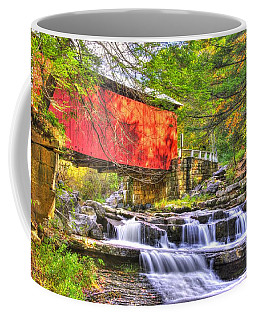 Pa Country Roads - Pack Saddle / Doc Miller Covered Bridge Over Brush Creek No. 11 - Somerset County Coffee Mug