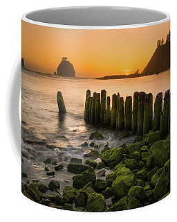 Coffee Mug featuring the photograph Pacific Dreams - First Beach Piers by Expressive Landscapes Fine Art Photography by Thom
