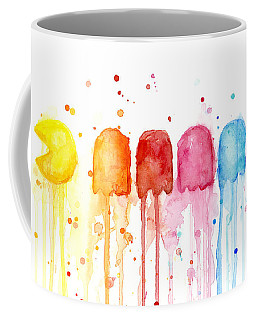 Pacman Watercolor Rainbow Coffee Mug