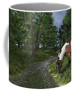 Paint Horse By The Forest Stream Coffee Mug