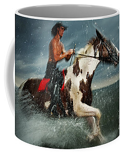 Paint Horse Running In The Water Coffee Mug