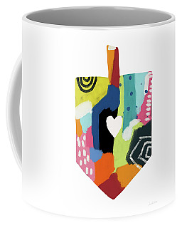 Coffee Mug featuring the mixed media Painted Dreidel With Heart- Art By Linda Woods by Linda Woods