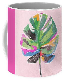 Coffee Mug featuring the mixed media Painted Palm Leaf 2- Art By Linda Woods by Linda Woods
