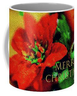 Painted Poinsettia Merry Christmas Coffee Mug