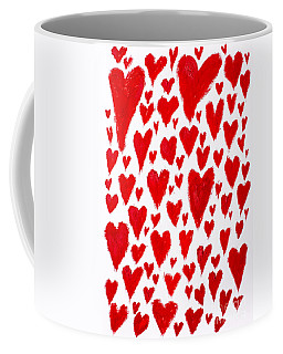 Painted Red Hearts Coffee Mug
